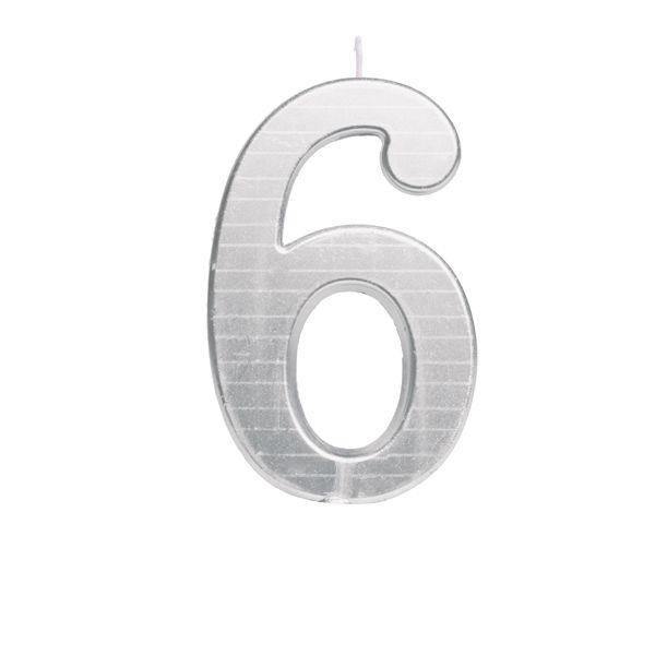 Vela de Aniversário nº6  Metalizado Prata G - 01 unidade - Cromus - Rizzo Festas