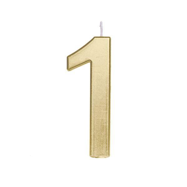 Vela de Aniversário nº1  Metalizado Ouro G - 01 unidade - Cromus - Rizzo Festas