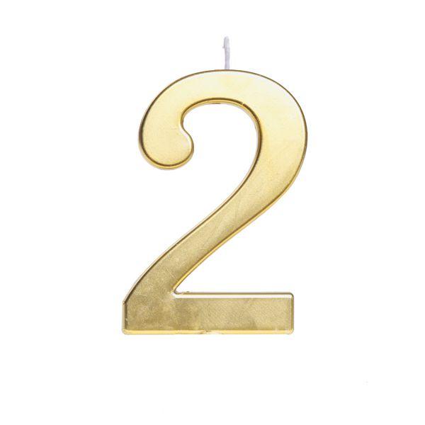 Vela de Aniversário nº2  Metalizado Ouro G - 01 unidade - Cromus - Rizzo Festas