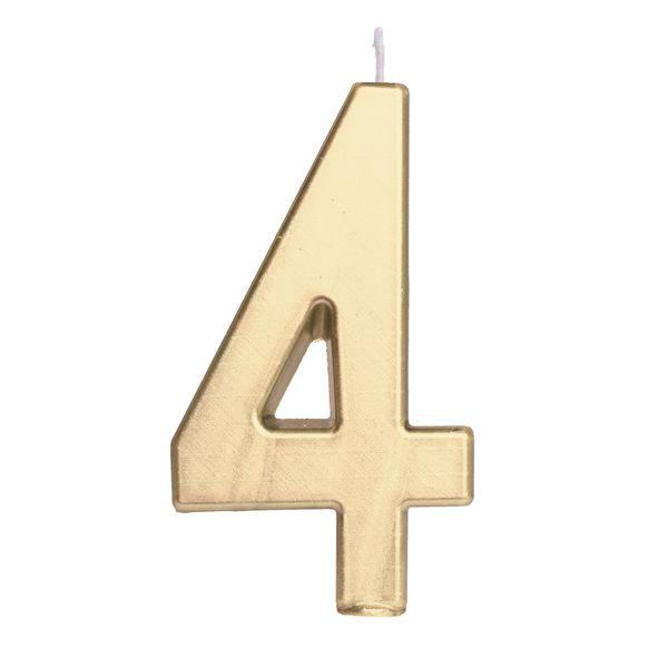 Vela de Aniversário nº4  Metalizado Ouro G - 01 unidade - Cromus - Rizzo Festas