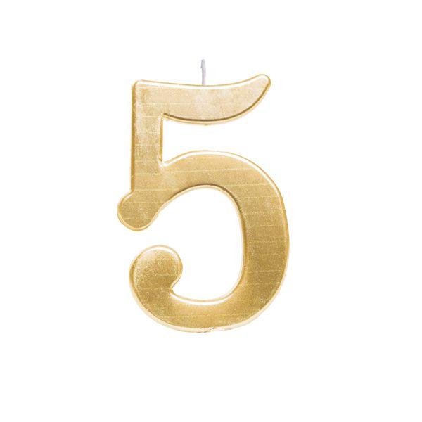 Vela de Aniversário nº5  Metalizado Ouro G - 01 unidade - Cromus - Rizzo Festas