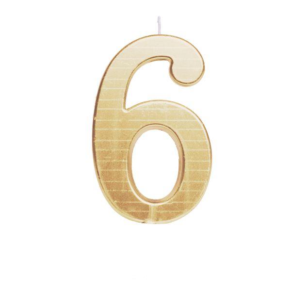 Vela de Aniversário nº6  Metalizado Ouro G - 01 unidade - Cromus - Rizzo Festas
