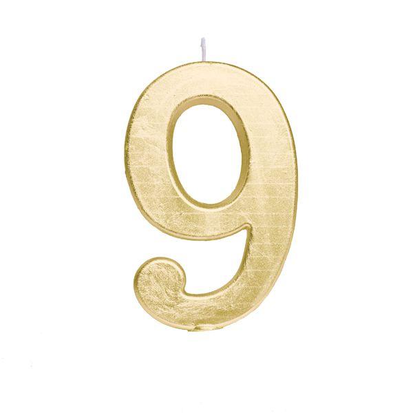 Vela de Aniversário nº9  Metalizado Ouro G - 01 unidade - Cromus - Rizzo Festas