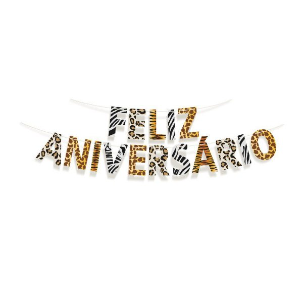 Faixa Feliz Aniversario Festa Safari - Cromus - Rizzo Festas