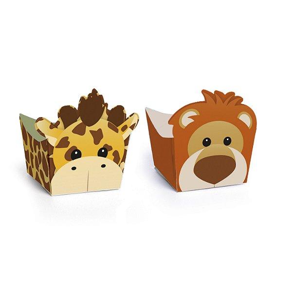 Forminha para Doces Cachepot Festa Safari - Girafa e Leão - 24 unidades - Cromus - Rizzo Festas