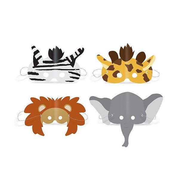 Máscaras Festa Safari Sortido - 8 unidades - Cromus - Rizzo Festas