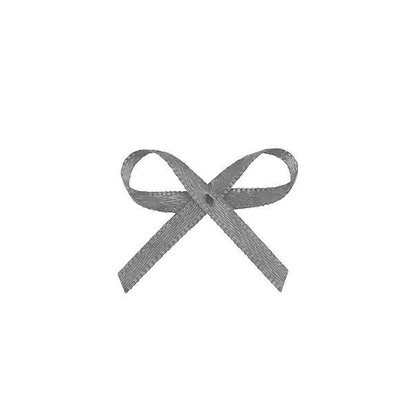 Laço Cetim Mosquitinho - Prata - 100 unidades - Rizzo Embalagens