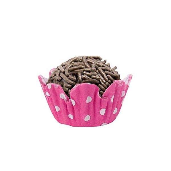Forminhas para Doces N° 5 Recortada  Pink Poá Branco 100 unidades Mago Rizzo Embalagens