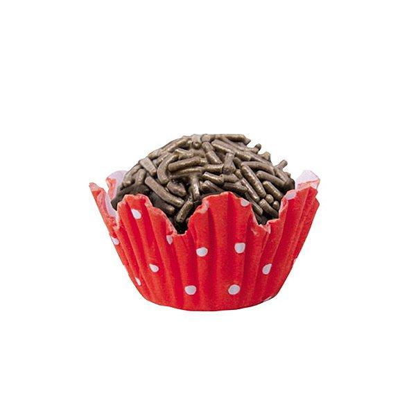 Forminhas para Doces N° 5 Recortada  Vermelha Poá Branco 100 unidades Mago Rizzo Embalagens