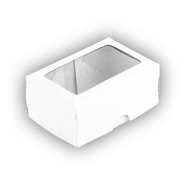 Caixa 2 Doces com Visor S1 (6cm x 9cm x 4cm) Branca 10 unidades Assk Rizzo Embalagens
