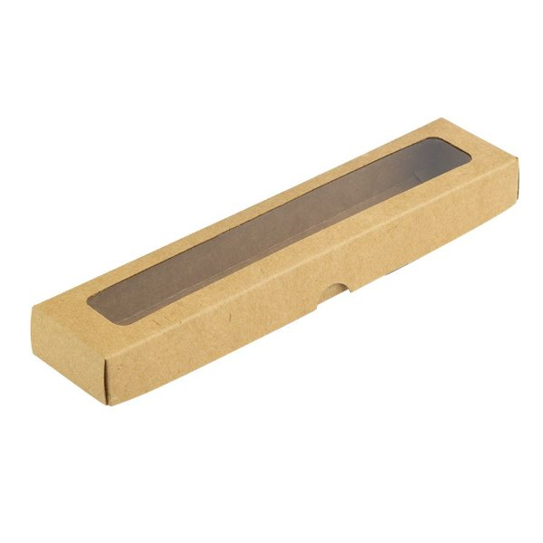Caixa com Visor S14 (4cm x 19cm x 3cm) Kraft 10 unidades Assk Rizzo Embalagens