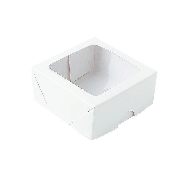 Caixa com Visor S16 (7cm x 7cm x 3cm) Branca 10 unidades Assk Rizzo Embalagens