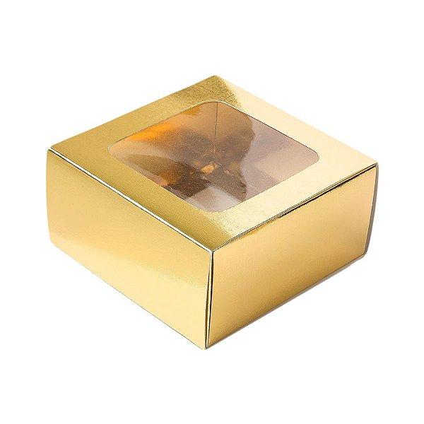 Caixa Gaveta com Visor Nº1 (8cm x 8cm x 4cm) Dourada 10 unidades Assk Rizzo Embalagens