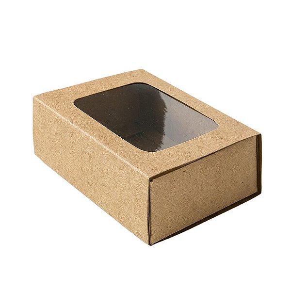 Caixa Gaveta com Visor Nº2 (8cm x 12cm x 4cm) Kraft 10 unidades Assk Rizzo Embalagens