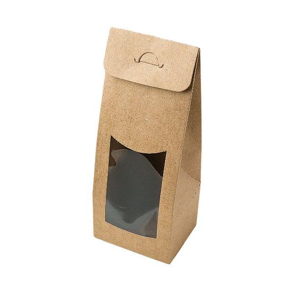 Caixa Sacolinha com Visor P (7,5cm x 19m x 6cm) Kraft 10 unidades Assk Rizzo Embalagens