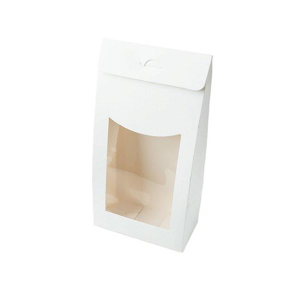 Caixa Sacolinha com Visor G (12cm x 23m x 6cm) Branca 10 unidades Assk Rizzo Embalagens