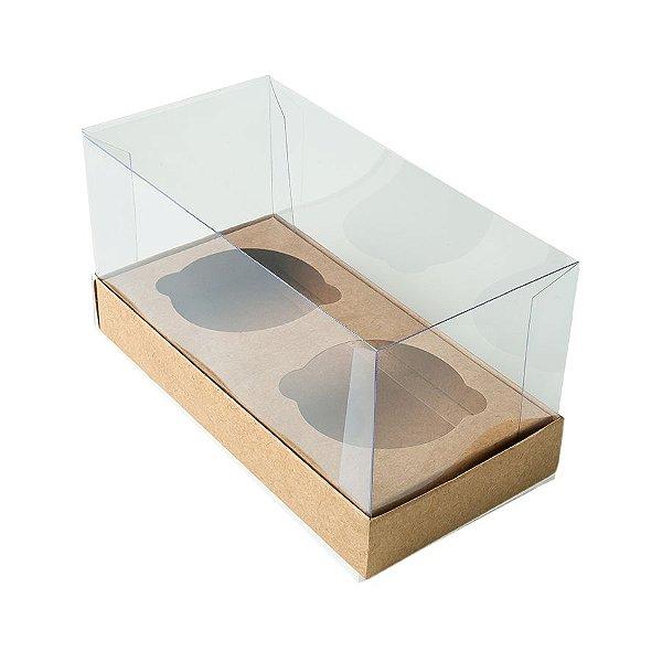 Caixa Cupcake com Tampa Transparente 2 Cavidades (17cm x 9cm x 8,5cm) Kraft 10 unidades Assk Rizzo Embalagens