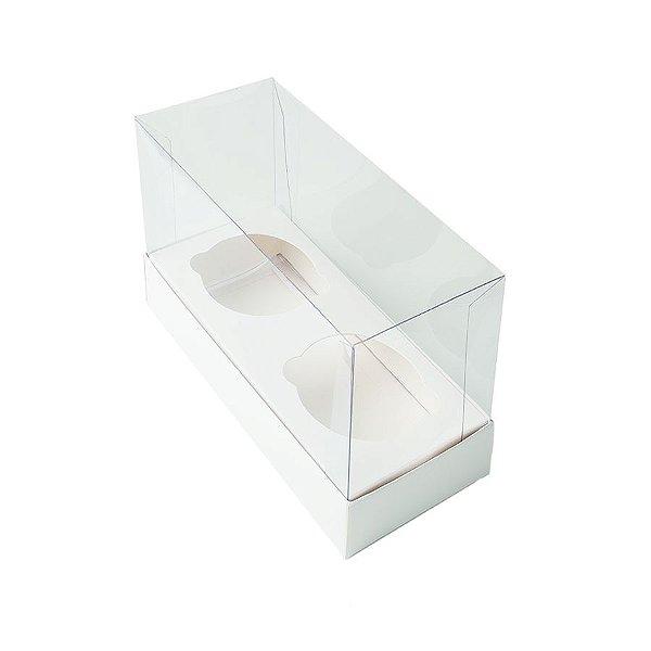 Caixa Mini Cupcake com Tampa Transparente 2 Cavidades (11cm x 9cm x 5,5cm) Branca 10 unidades Assk Rizzo Embalagens