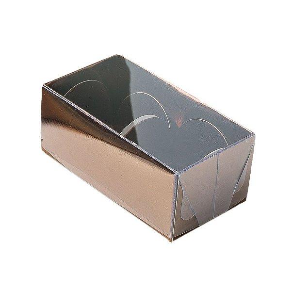 Caixa 2 Doces com Tampa Transparente Nº 2 (8,5cm x 4cm x 3,5cm) Bronze 10 unidades Assk Rizzo Embalagens