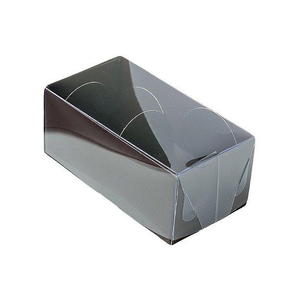 Caixa 2 Doces com Tampa Transparente Nº 2 (8,5cm x 4cm x 3,5cm) Marrom 10 unidades Assk Rizzo Embalagens