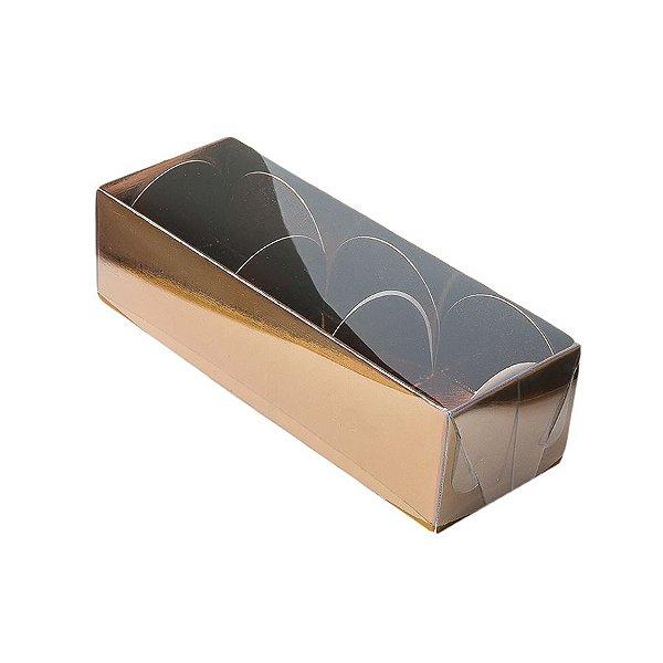 Caixa 3 Doces com Tampa Transparente Nº 3 (12cm x 4,5cm x 3,5cm) Bronze 10 unidades Assk Rizzo Embalagens