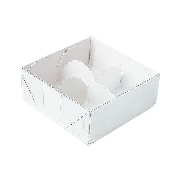 Caixa 4 Doces com Tampa Transparente Nº 4 (8cm x 8cm x 3,5cm) Branca 10 unidades Assk Rizzo Embalagens