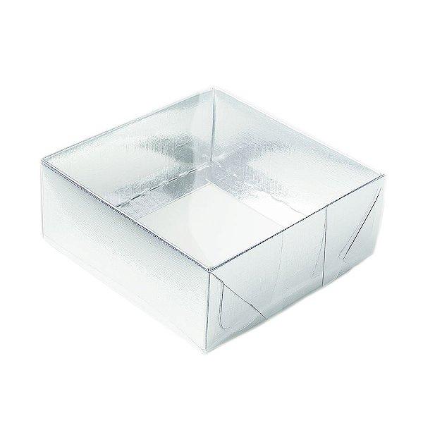 Caixa 4 Doces com Tampa Transparente Nº 4 (8cm x 8cm x 3,5cm) Prata 10 unidades Assk Rizzo Embalagens