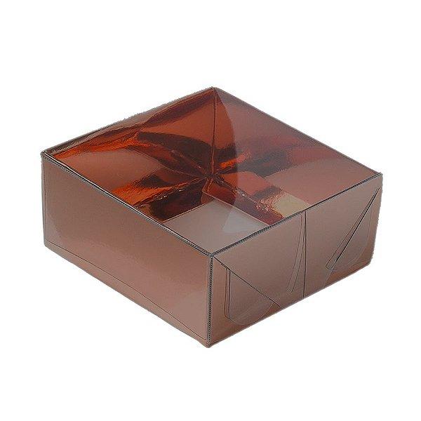 Caixa 4 Doces com Tampa Transparente Nº 4 (8cm x 8cm x 3,5cm) Bronze 10 unidades Assk Rizzo Embalagens