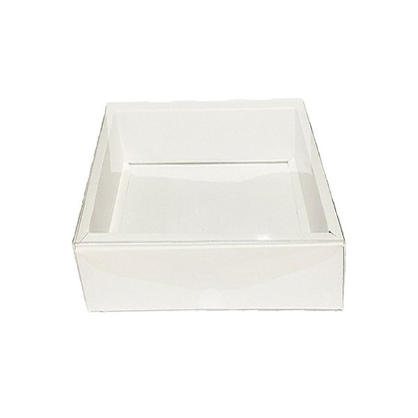Caixa com Tampa Transparente PVC Nº 6 (15cm x 15cm x 4cm) Branca 10 unidades Assk Rizzo Embalagens