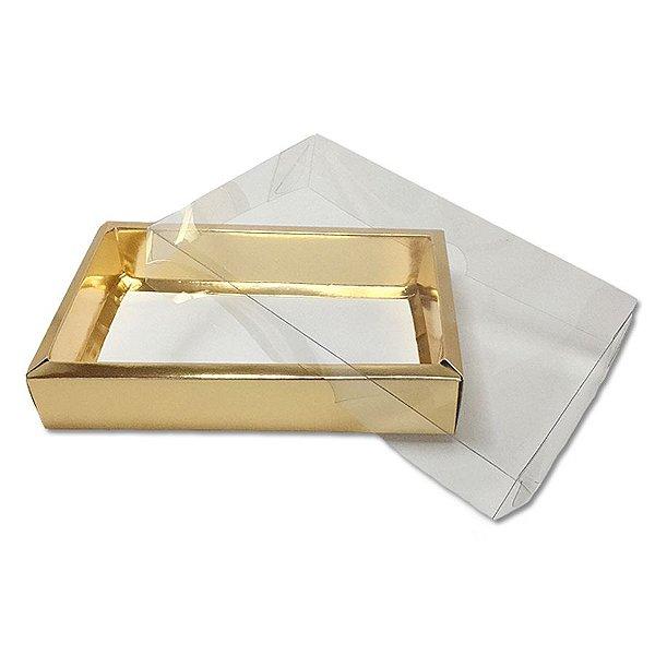 Caixa com Tampa Transparente PVC Nº 7 (15cm x 21cm x 3,5cm) Dourada 10 unidades Assk Rizzo Embalagens