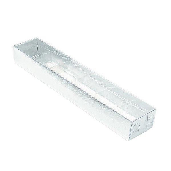 Caixa 6 Doces com Berço Tampa Transparente Nº 4 (23cm x 4cm x 3cm) Prata 10 unidades Assk Rizzo Embalagens