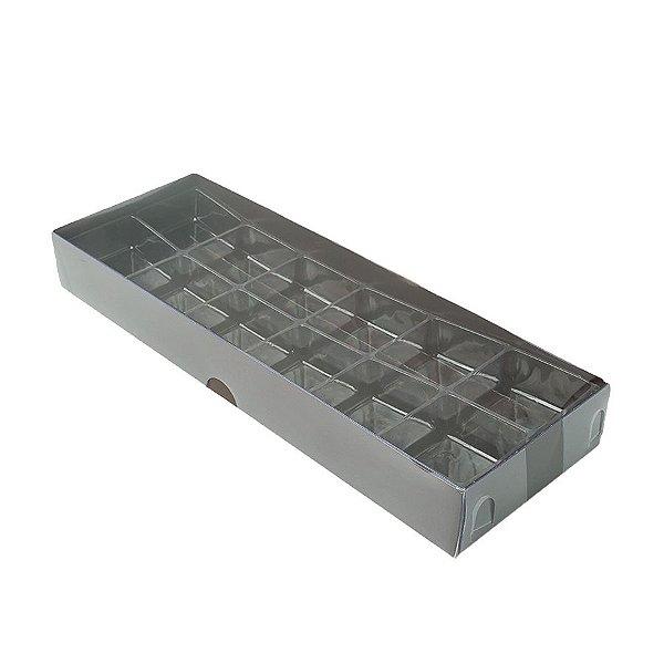 Caixa 12 Doces com Berço Tampa Transparente Nº 3 (23cm x 8,5cm x 3cm) Marrom 10 unidades Assk Rizzo Embalagens