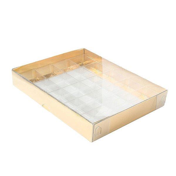 Caixa 20 Doces com Berço Tampa Transparente Nº 1 (19,5cm x 15,5cm x 3cm) Dourada 10 unidades Assk Rizzo Embalagens