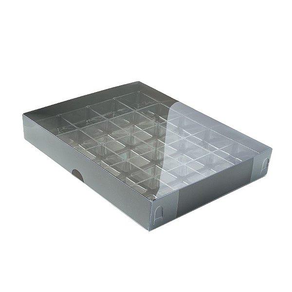 Caixa 20 Doces com Berço Tampa Transparente Nº 1 (19,5cm x 15,5cm x 3cm) Marrom 10 unidades Assk Rizzo Embalagens