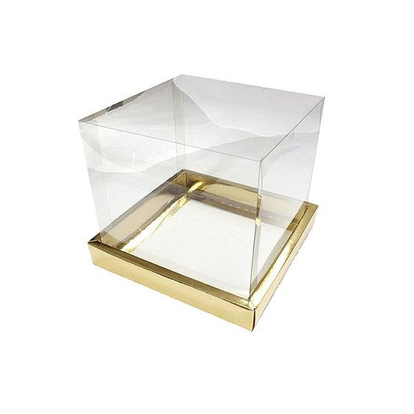 Caixa para Panetone 250g (12cm x 12cm x 12cm) Dourada 05 unidades Assk Rizzo Embalagens