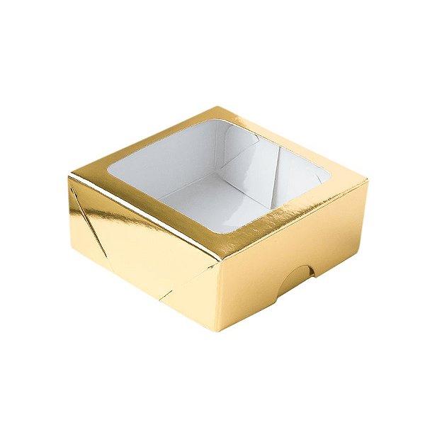 Caixa 4 Doces com Visor S11 (9cm x 9cm x 4cm) Dourado 10 unidades Assk Rizzo Embalagens