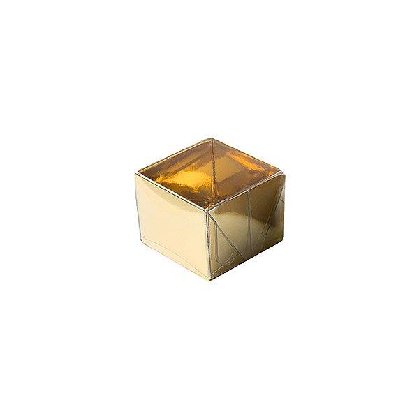 Caixa 1 Doce com Tampa Transparente Nº 10 (4,5cm x 4,5cm x 3,5cm) Dourada 10 unidades Assk Rizzo Embalagens