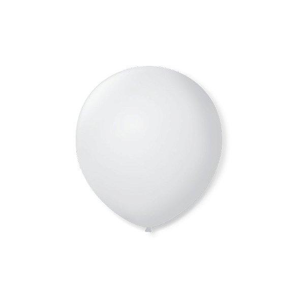 Balão de Festa Latex 5'' 13cm - Branco Polar - 50 unidades - São Roque - Rizzo Festas