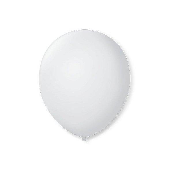 Balão de Festa Latex 7'' 18cm - Branco Polar - 50 unidades - São Roque - Rizzo Festas