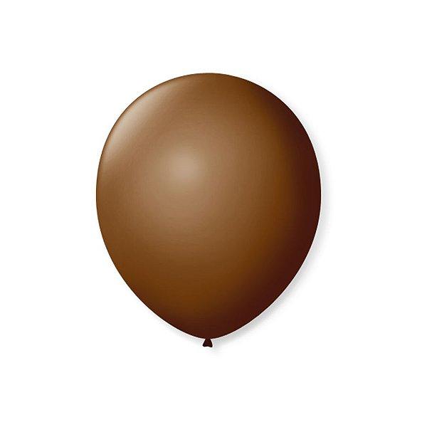Balão de Festa Latex 7'' 18cm - Café Brasil - 50 unidades - São Roque - Rizzo Festas