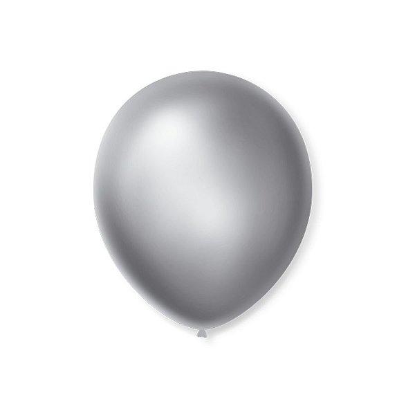 Balão de Festa Latex 7'' 18cm - Cintilante Prata - 50 unidades - São Roque - Rizzo Festas