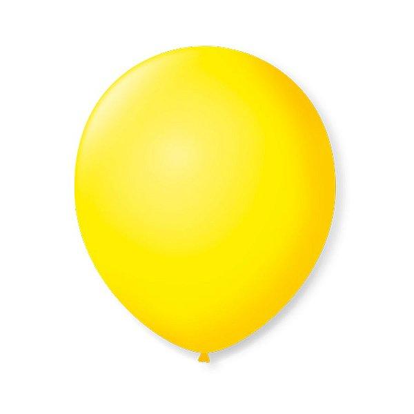 Balão de Festa Latex 9'' 23cm - Amarelo Citrino - 50 unidades - São Roque - Rizzo Festas