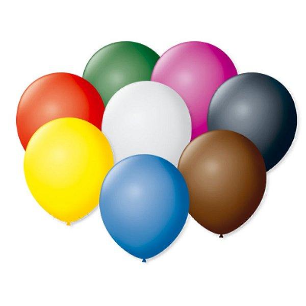 Balão de Festa Latex 9'' 23cm - Colorido Sortido - 50 unidades - São Roque - Rizzo Festas