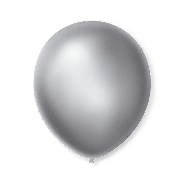 Balão de Festa Latex 9'' 23cm - Cintilante Prata - 50 unidades - São Roque - Rizzo Festas