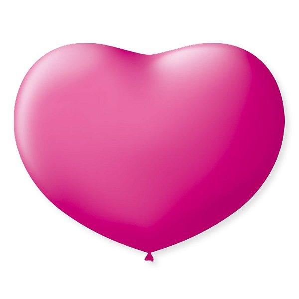 Balão de Coração em Latex 11'' 28cm - Rosa Tutti Frutti - 20 unidades - São Roque - Rizzo Festas