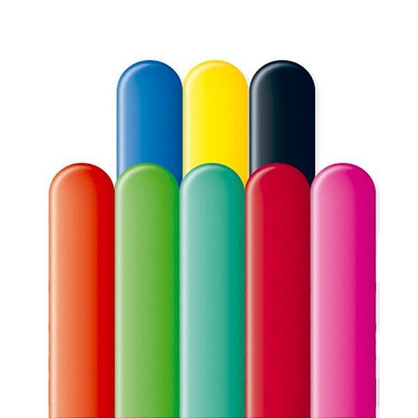 Balão Canudo Latex 1.60 - Colorido Sortido - 50 unidades - São Roque - Rizzo Festas