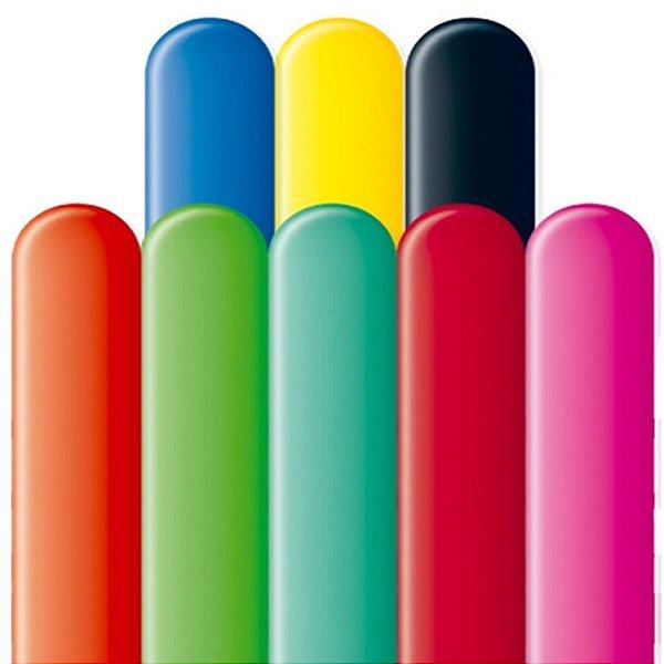 Balão Canudo Latex 260SR - Colorido Sortido - 50 unidades - São Roque - Rizzo Festas