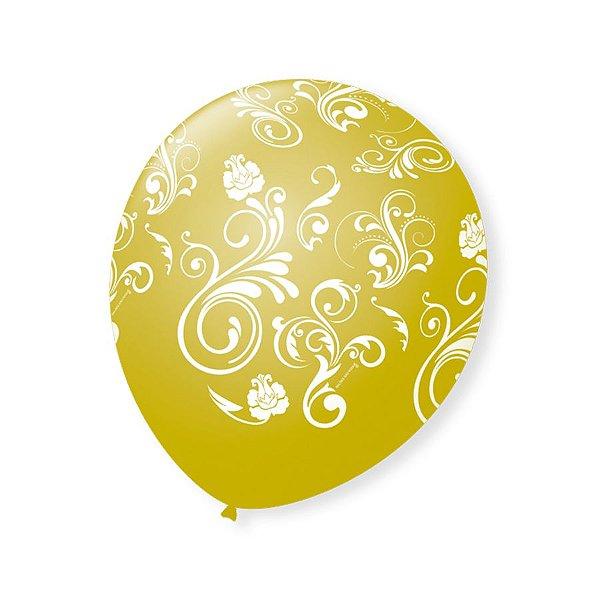 Balão de Festa Dourado Arabesco Branco 9'' 23cm - 25 unidades - São Roque - Rizzo Festas