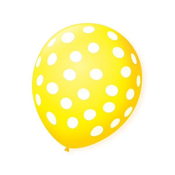 Balão de Festa Bolinhas Amarelo Poá Branco 9'' 23cm - 25 unidades - São Roque - Rizzo Festas