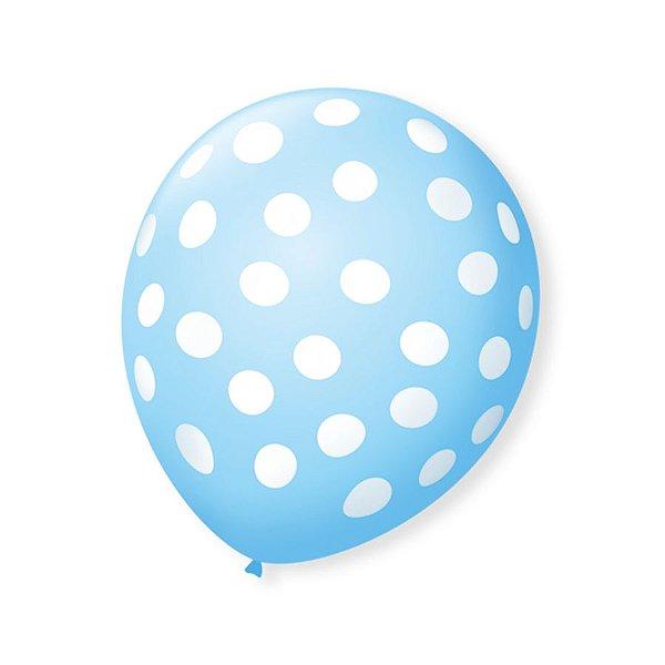 Balão de Festa Bolinhas Azul Baby Poá Branco 9'' 23cm - 25 unidades - São Roque - Rizzo Festas